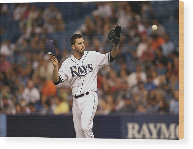 American League Baseball Wood Print featuring the photograph Brandon League by Scott Iskowitz