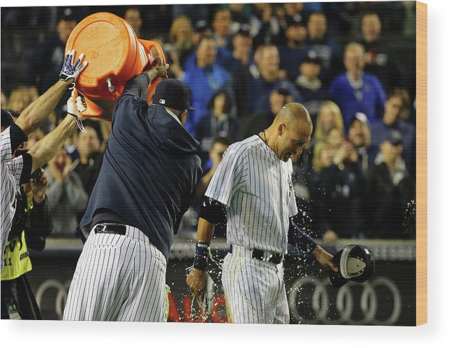 Ninth Inning Wood Print featuring the photograph Brett Gardner and Derek Jeter by Al Bello