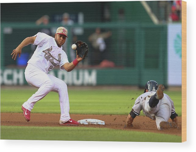 St. Louis Cardinals Wood Print featuring the photograph Brett Gardner and Jhonny Peralta by Dilip Vishwanat