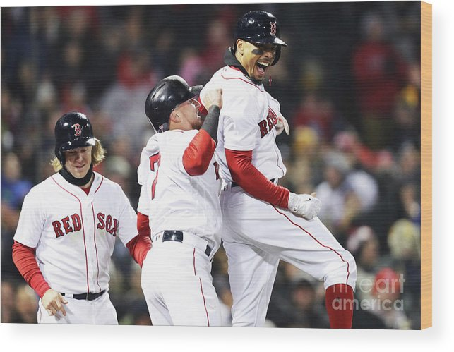 Three Quarter Length Wood Print featuring the photograph Brock Holt and Mookie Betts by Maddie Meyer