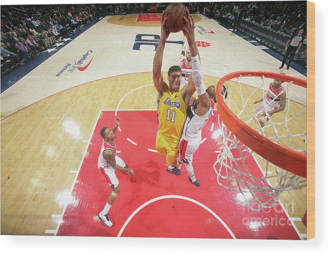 Nba Pro Basketball Wood Print featuring the photograph Brook Lopez by Ned Dishman