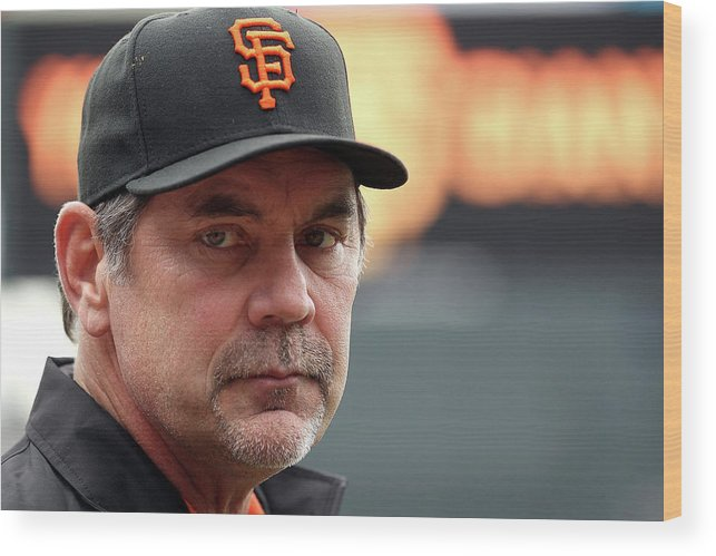 Bruce Bochy Wood Print featuring the photograph Bruce Look by Doug Pensinger