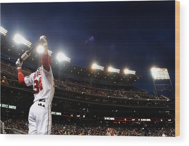 National League Baseball Wood Print featuring the photograph Bryce Harper by Patrick Mcdermott