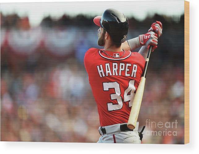 San Francisco Wood Print featuring the photograph Bryce Harper by Thearon W. Henderson