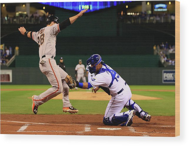 Salvador Perez Diaz Wood Print featuring the photograph Buster Posey by Jamie Squire
