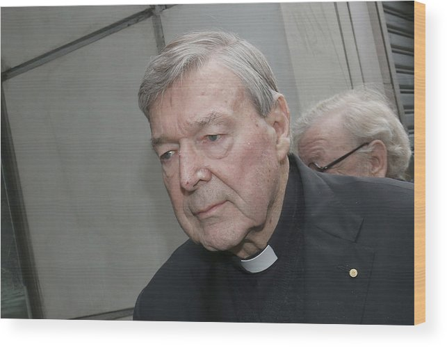 People Wood Print featuring the photograph Cardinal George Pell Attends Court To Face Historical Child Abuse Charges by Darrian Traynor