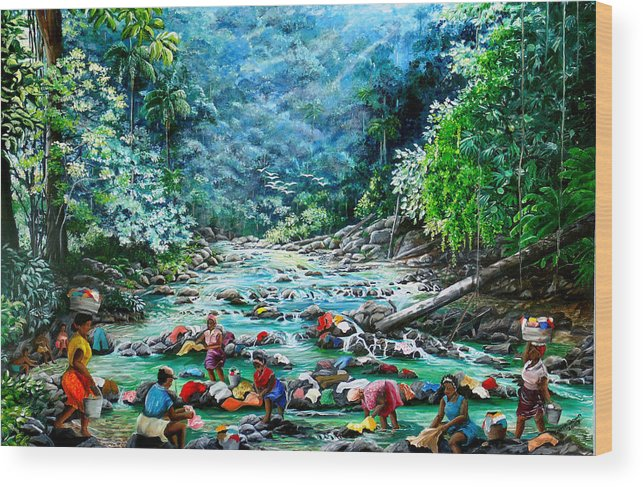 Land Scape Painting River Painting Mountain Painting Rain Forest Painting Washerwomen Painting Laundry Painting Caribbean Painting Tropical Painting Village Washer Women At A Mountain River In Trinidad And Tobago Wood Print featuring the painting Caribbean Wash Day by Karin Dawn Kelshall- Best