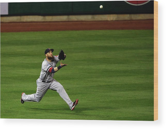 American League Baseball Wood Print featuring the photograph Carlos Beltran and Jonny Gomes by Jamie Squire