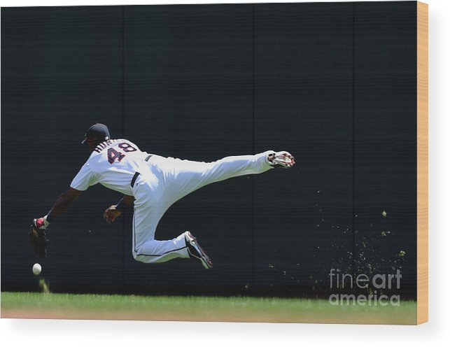 Second Inning Wood Print featuring the photograph Carlos Beltran and Torii Hunter by Hannah Foslien