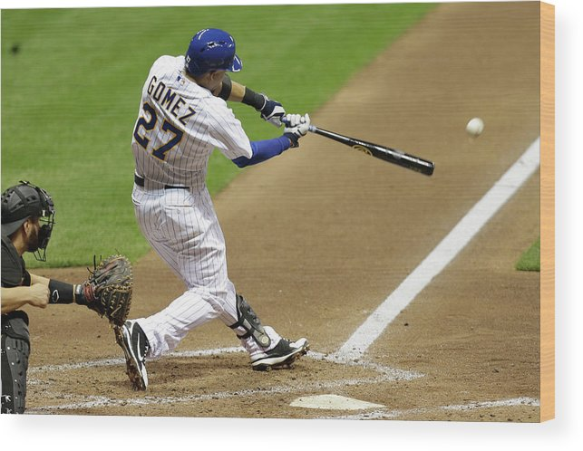 Scoring Wood Print featuring the photograph Carlos Gomez and Rickie Weeks by Mike Mcginnis