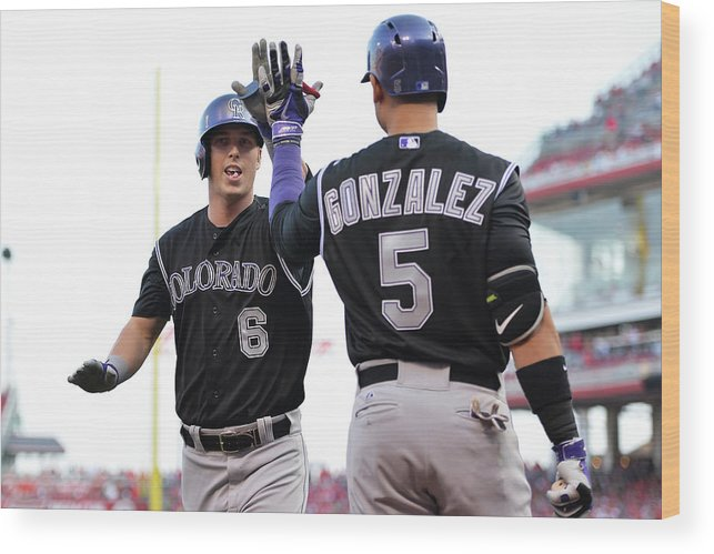 Great American Ball Park Wood Print featuring the photograph Carlos Gonzalez and Corey Dickerson by Jamie Sabau