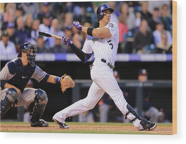 National League Baseball Wood Print featuring the photograph Carlos Gonzalez by Doug Pensinger