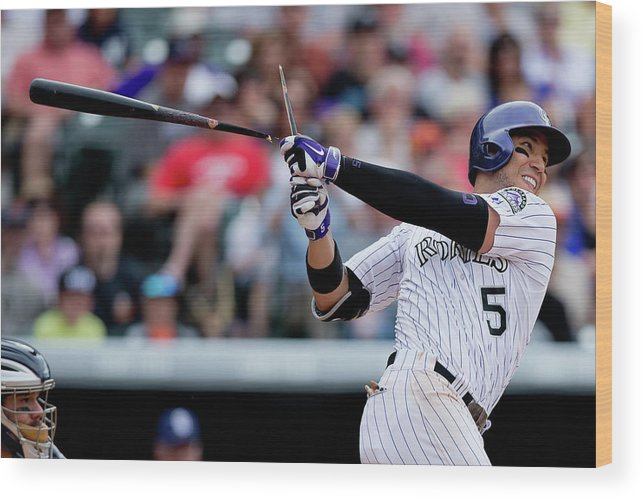 National League Baseball Wood Print featuring the photograph Carlos Gonzalez by Justin Edmonds