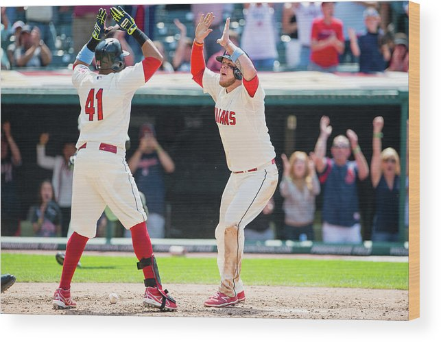 Ninth Inning Wood Print featuring the photograph Carlos Santana and David Murphy by Jason Miller
