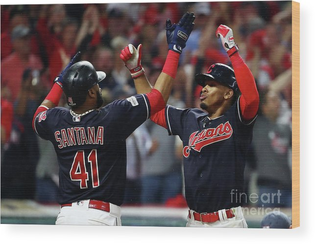 Game Two Wood Print featuring the photograph Carlos Santana and Francisco Lindor by Gregory Shamus