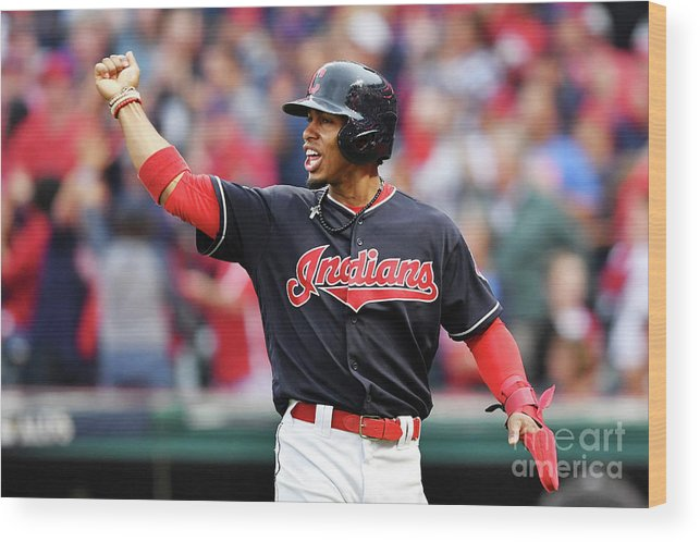Game Two Wood Print featuring the photograph Carlos Santana and Francisco Lindor by Jason Miller