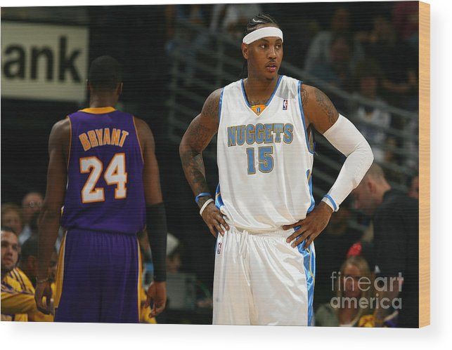 Nba Pro Basketball Wood Print featuring the photograph Carmelo Anthony, Allen Iverson, and Kobe Bryant by Garrett Ellwood