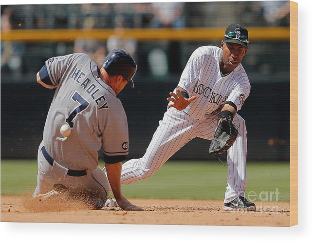 Sports Ball Wood Print featuring the photograph Chase Headley and Jonathan Herrera by Doug Pensinger