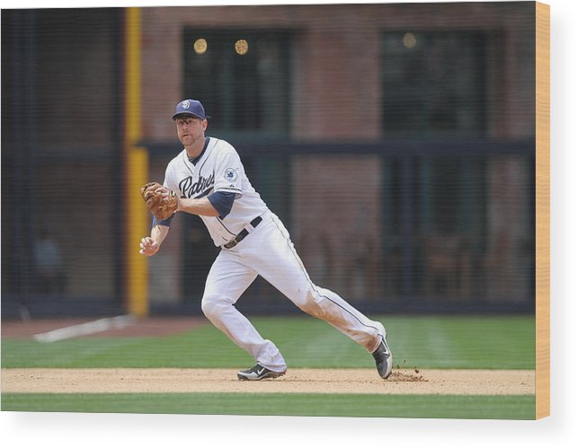 Ball Wood Print featuring the photograph Chase Headley by Rob Leiter