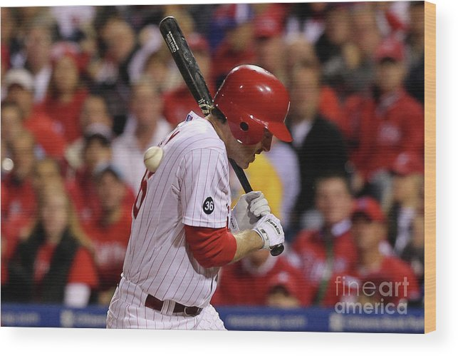 Playoffs Wood Print featuring the photograph Chase Utley by Al Bello