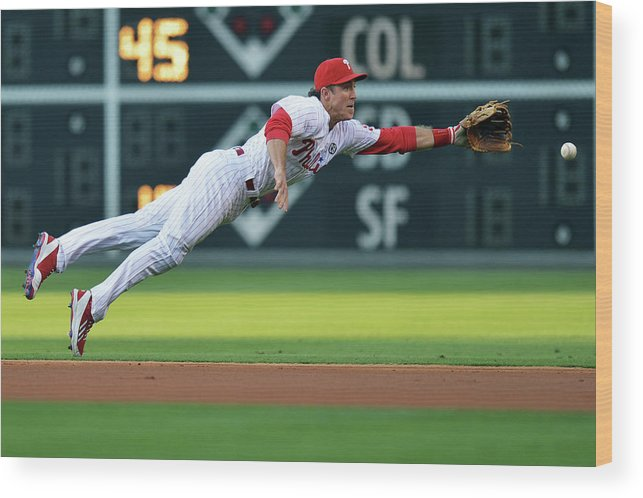 Ball Wood Print featuring the photograph Chase Utley by Drew Hallowell