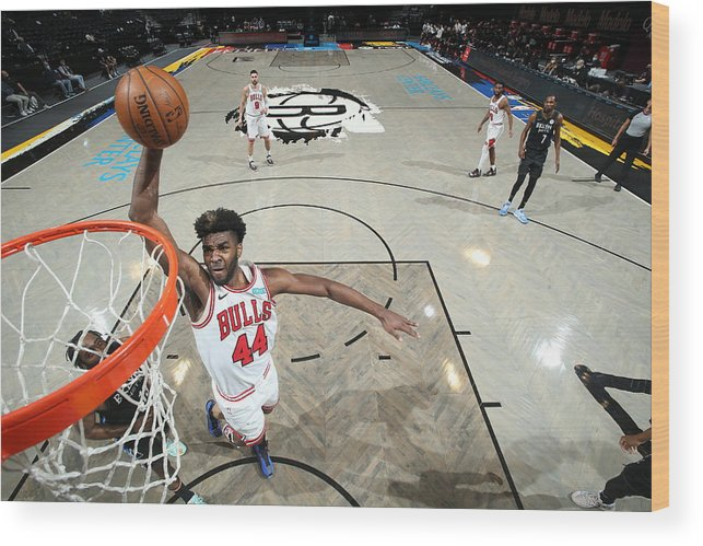 Nba Pro Basketball Wood Print featuring the photograph Chicago Bulls v Brooklyn Nets by Nathaniel S. Butler