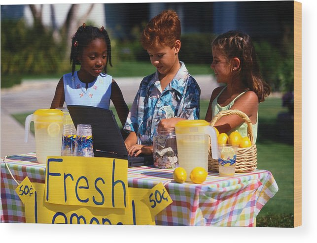 Child Wood Print featuring the photograph Children Selling Lemonade at Lemonade Stand by SW Productions