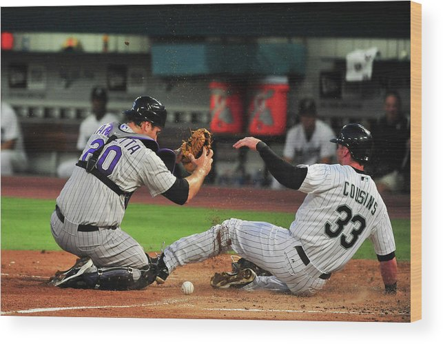 Ball Wood Print featuring the photograph Chris Iannetta by Ronald C. Modra/sports Imagery