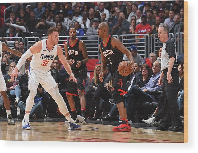 Nba Pro Basketball Wood Print featuring the photograph Chris Paul and Blake Griffin by Andrew D. Bernstein