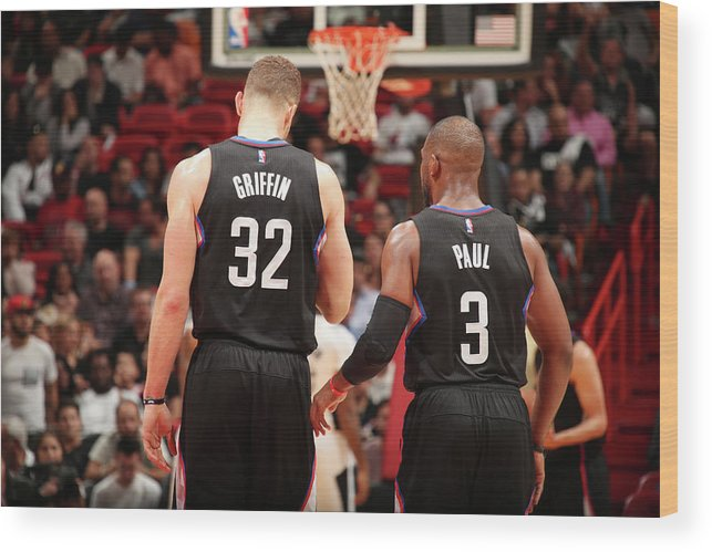 Nba Pro Basketball Wood Print featuring the photograph Chris Paul and Blake Griffin by Issac Baldizon