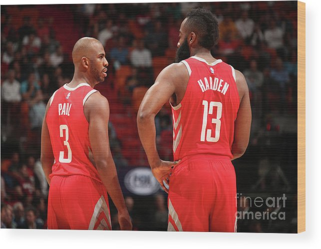 Nba Pro Basketball Wood Print featuring the photograph Chris Paul and James Harden by Issac Baldizon