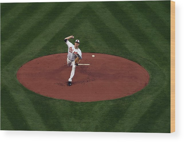 American League Baseball Wood Print featuring the photograph Chris Tillman by Patrick Smith