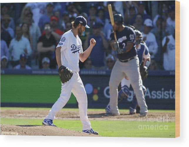 Jesús Aguilar Wood Print featuring the photograph Clayton Kershaw by Jeff Gross