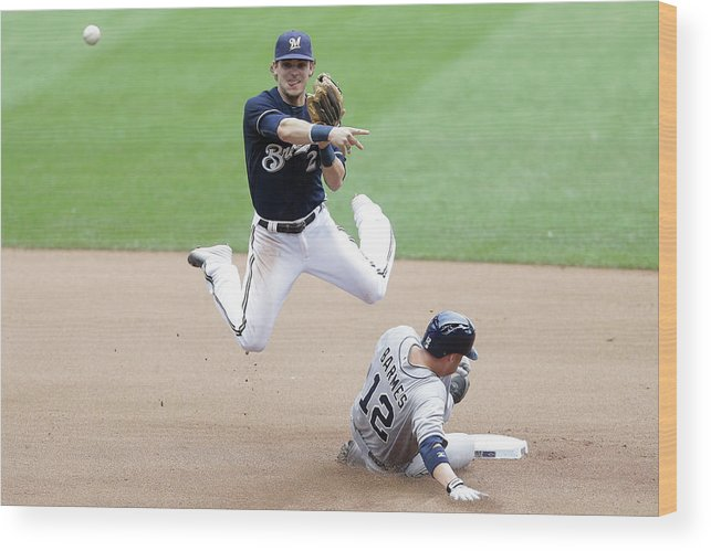 Double Play Wood Print featuring the photograph Clint Barmes and Scooter Gennett by Mike Mcginnis