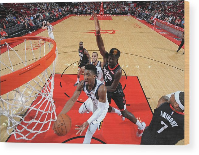 Nba Pro Basketball Wood Print featuring the photograph Clint Capela and Donovan Mitchell by Bill Baptist