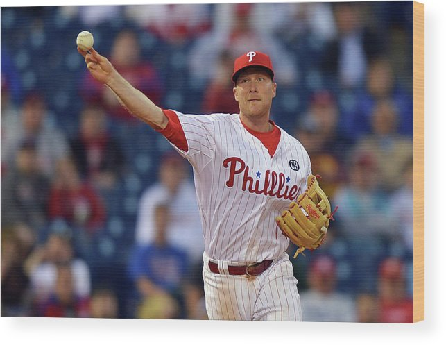 Ninth Inning Wood Print featuring the photograph Cody Asche by Drew Hallowell