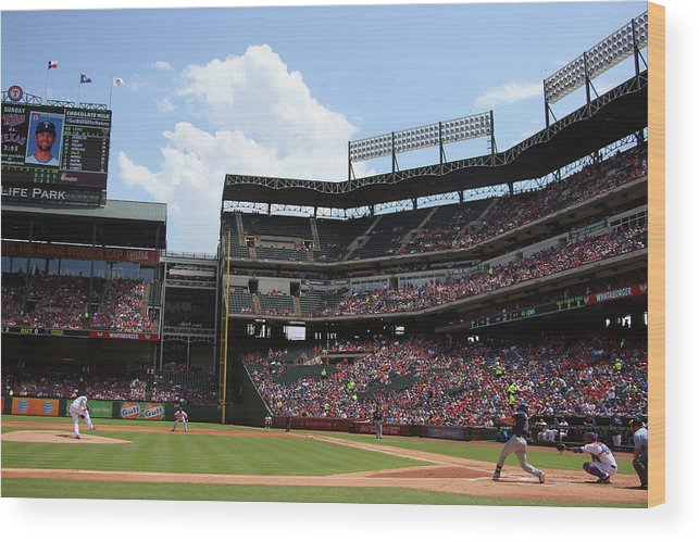 Second Inning Wood Print featuring the photograph Colby Lewis and Trevor Plouffe by Ronald Martinez