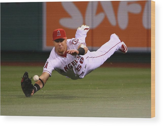 Ninth Inning Wood Print featuring the photograph Colby Rasmus and Kole Calhoun by Victor Decolongon