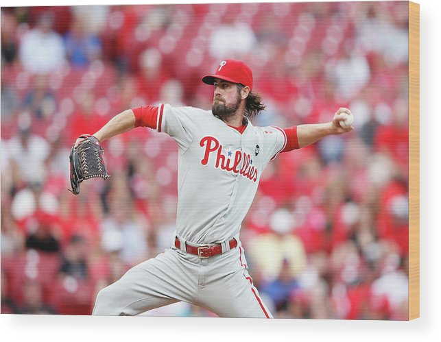 Great American Ball Park Wood Print featuring the photograph Cole Hamels by Joe Robbins