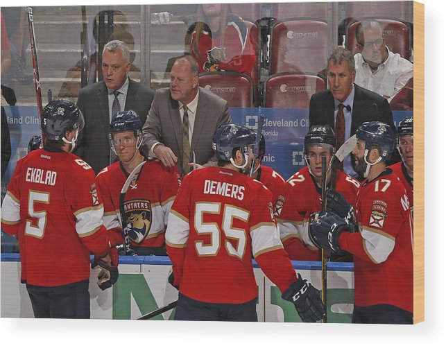 National Hockey League Wood Print featuring the photograph Columbus Blue Jackets v Florida Panthers by Joel Auerbach