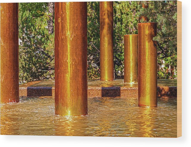 Peavey Plaza Wood Print featuring the photograph Copper Columns at Peavey Plaza by Lonnie Paulson
