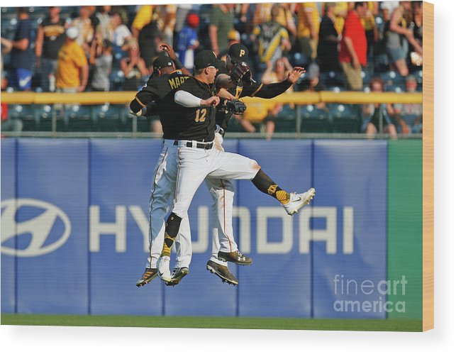 People Wood Print featuring the photograph Corey Dickerson and Starling Marte by Justin K. Aller