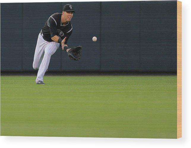 Catching Wood Print featuring the photograph Corey Dickerson by Justin Edmonds