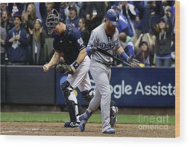 People Wood Print featuring the photograph Corey Knebel, Justin Turner, and Erik Kratz by Rob Carr