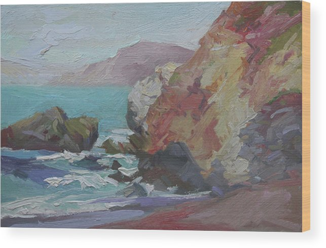 Catalina Island Plein Air Painting Wood Print featuring the painting Cottonwood Cove Catalina by Betty Jean Billups
