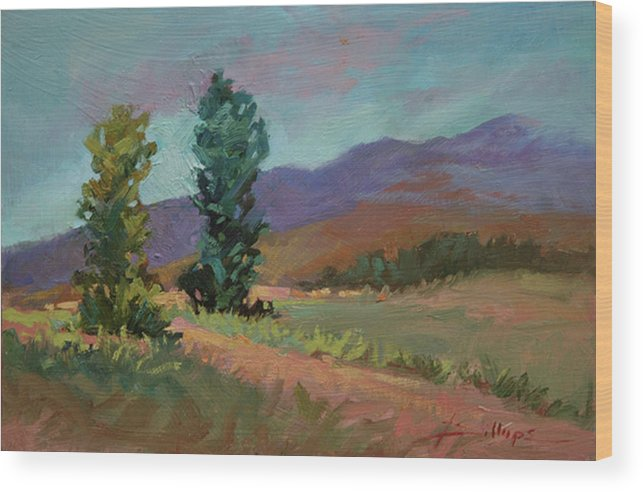 Cottonwood Paintings Wood Print featuring the painting Cottonwoods by Betty Jean Billups