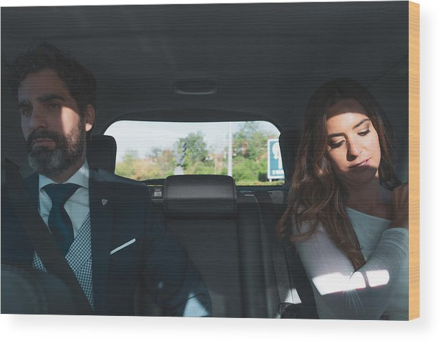 Young Men Wood Print featuring the photograph Couple on a wedding day, inside the car by Ruben Earth