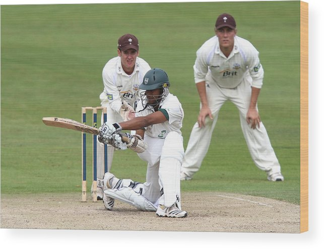 People Wood Print featuring the photograph Cricket - Liverpool Victoria County Championship - Division Two - Day Three - Worcestershire v Surrey - New Road by David Davies - PA Images