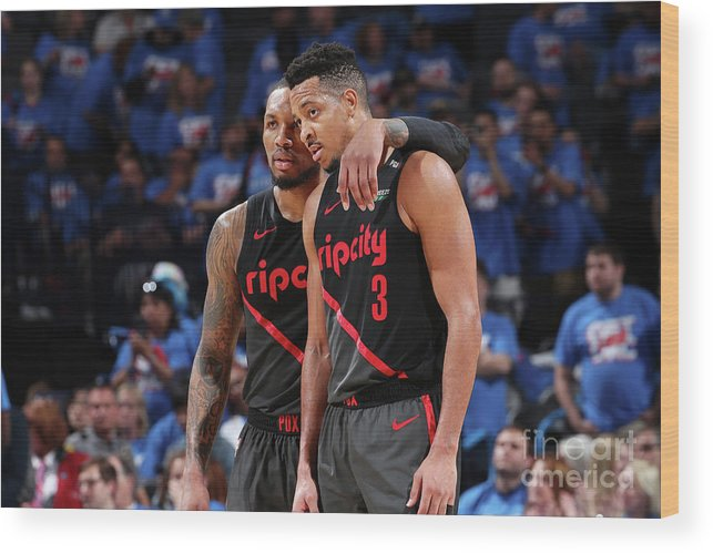 Playoffs Wood Print featuring the photograph Damian Lillard and C.j. Mccollum by Joe Murphy