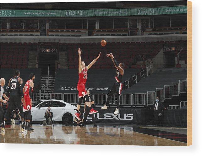 Nba Pro Basketball Wood Print featuring the photograph Damian Lillard by Jeff Haynes